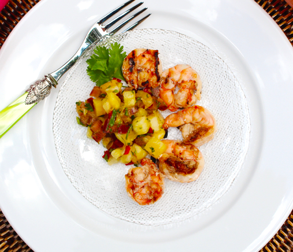 Grilled Tropical Fruit Habañero Shrimp